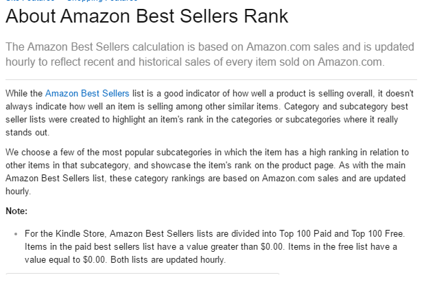 Best sellers rank