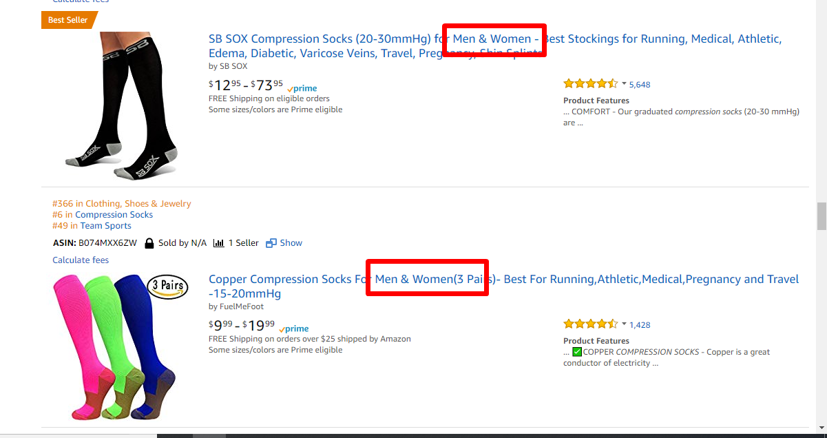 Amazon Screenshot of compression socks search term