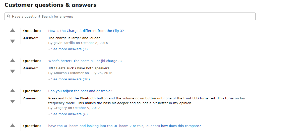Customer Questions and answers on Amazon