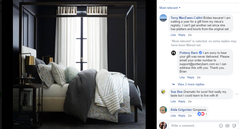 pottery barn facebook response
