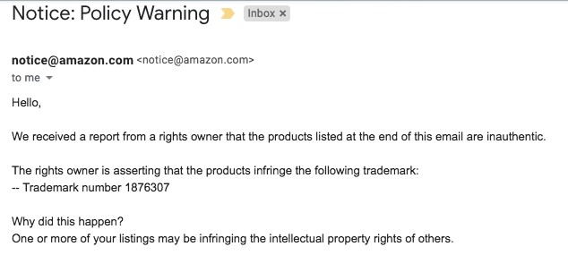 amazon policy warning