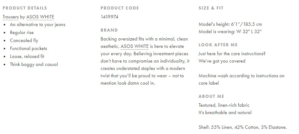 concise product description