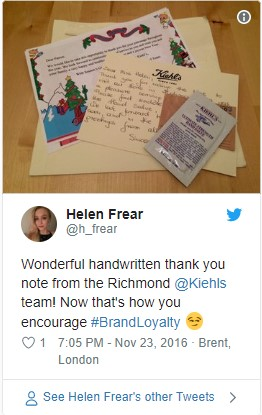 handwritten note in package