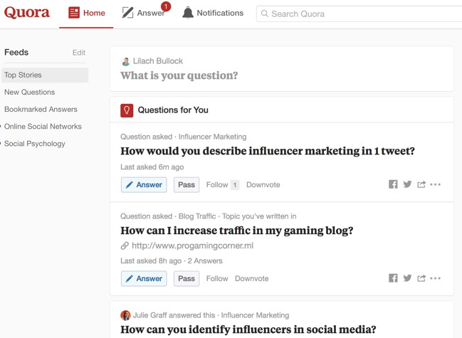 content marketing on quora