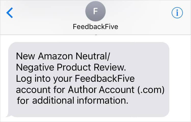 feedbackfive text alert