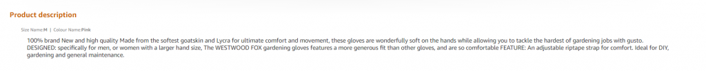 amazon product description uk